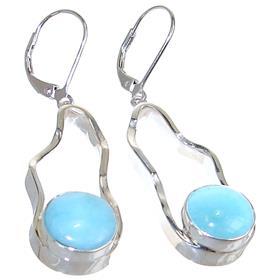 Designer Larimar Sterling Silver Earrings