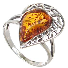 Baltic Amber Sterling Silver Ring size M 1/2