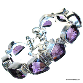 Amethyst Sterling Silver Bracelet. Silver Gemstone Bracelets.