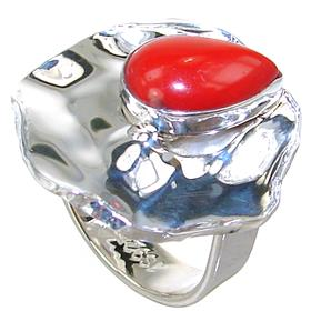 Red Coral Sterling Silver Ring size M