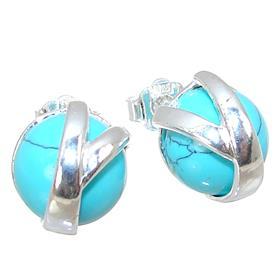 Turquoise Sterling Silver Earrings Stud