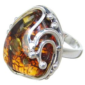 Baltic Amber Sterling Silver Ring size P 1/2