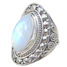 Moonstone Sterling Silver Ring size P