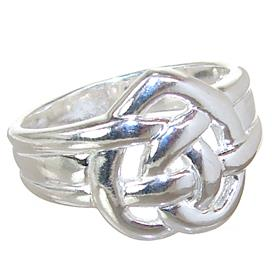 Modern Heart Plain Sterling Silver Ring size Q
