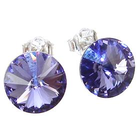 Purple Crystal Sterling Silver Earrings Stud