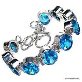 Cubic Zirconia Sterling Silver Bracelet. Silver Gemstone Bracelet.