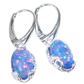 Designer Created Opal Sterling Silver Earrings