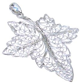 Fancy Leaf Sterling Silver Pendant
