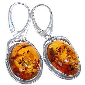 Amber Ball Sterling Silver Earrings