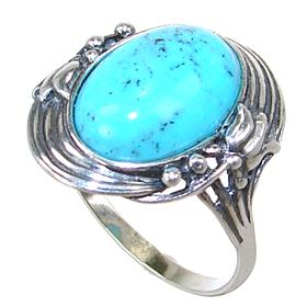Vintage Turquoise Sterling Silver Ring size R 1/2