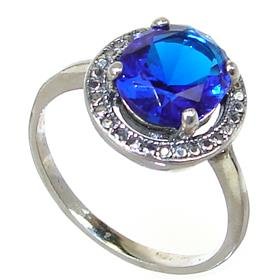 Blue Quartz Sterling Silver Ring size P