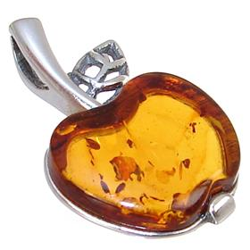 Baltic Amber Apple Sterling Silver Pendant