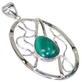 Eye-Catching Malachite Sterling Silver Pendant