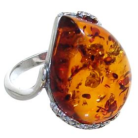 Baltic Amber Sterling Silver Ring size P
