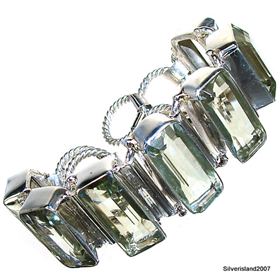 Incredible Design! Green Amethyst Sterling Silver Bracelet. Silver Gemstone Bracelet.