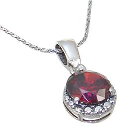 Red Quartz Sterling Silver Necklace 19 inches long