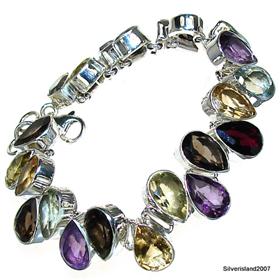 Stunning Multigem Sterling Silver Bracelet Jewellery