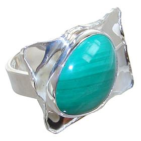 Malachite Sterling Silver Ring size M