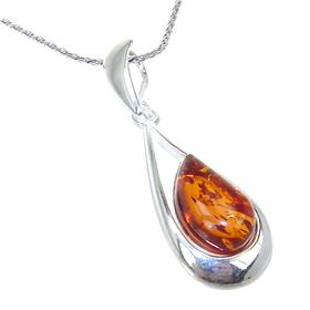 Amber Sterling Silver Necklace 19 inches long