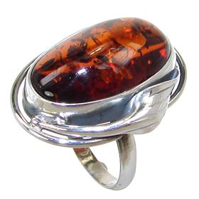 Baltic Amber Sterling Silver Ring size R