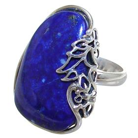 Lapis Lazuli Sterling Silver Ring size P Adjustable
