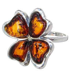 Baltic Amber Sterling Silver Ring size O
