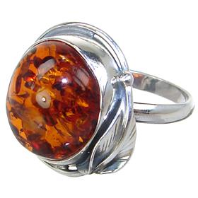 Baltic Amber Sterling Silver Ring size T