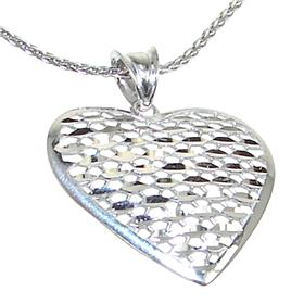 Heart Plain Sterling Silver Necklace length 21 inches
