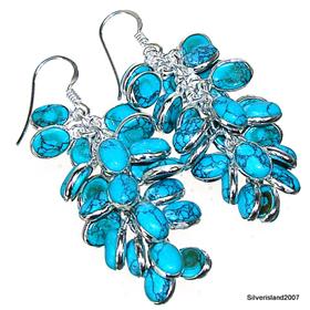 Turquoise Sterling Silver Earrings.  Silver Gemstone Earrings.