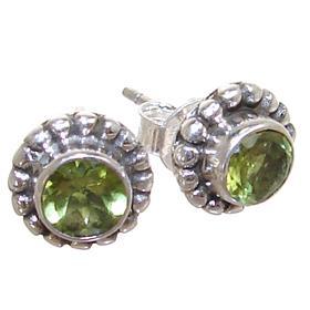 Peridot Sterling Silver Earrings Stud