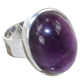Amethyst Sterling Silver Ring size P Adjustable