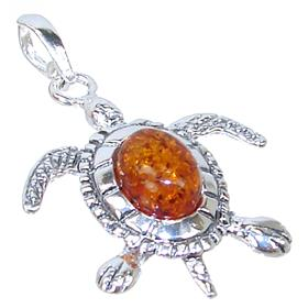 Baltic Amber Turtle Sterling Silver Pendant