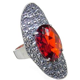 Red Quartz Sterling Silver Ring size R 1/2