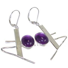 Purple Quartz Sterling Silver Earrings