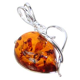 Baltic Amber Heart Sterling Silver Pendant