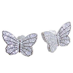 White Quartz Butterfly Sterling Silver Earrings Stud