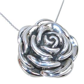 Fancy Rose Sterling Silver Necklace 21 Inches