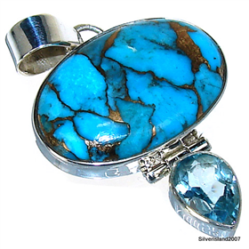 Copper Turquoise Sterling Silver Pendant. Silver Gemstone Pendant.
