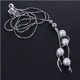 Created Pearl Sterling Silver Necklace 17 inches long
