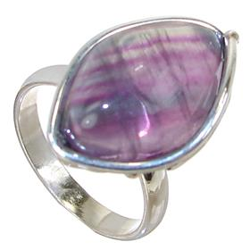 Designer Flourite Sterling Silver Ring size Q Adjustable