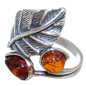 Baltic Amber Sterling Silver Ring size O 1/2