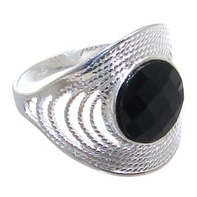 Black Onyx Sterling Silver Ring size R 1/2