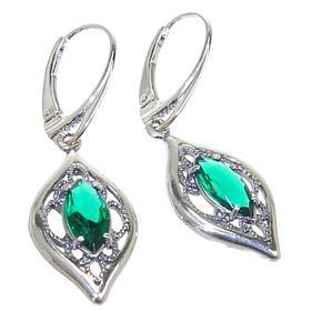 Green Quartz Sterling Silver Earrings Stud