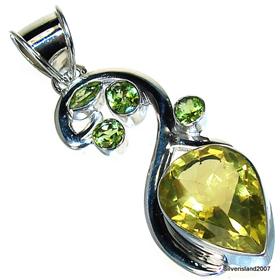 Large Sunny Citrine Sterling Silver Pendant. Silver Gemstone Pendant.