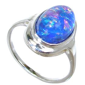 Created Fire Opal Sterling Silver Ring Size L 1/2