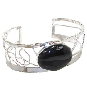 Black Onyx Sterling Silver Bracelet Bangle