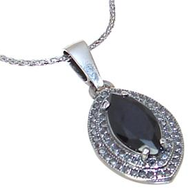 Elegant Onyx Sterling Silver Necklace 21 inches long