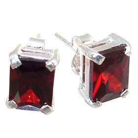 Red Quartz Sterling Silver Earrings Stud