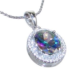 Mystic Quartz Sterling Silver Necklace 21 inches long