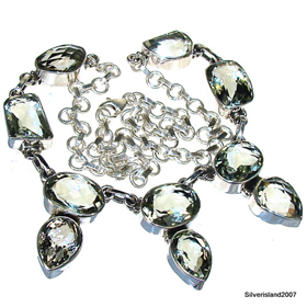 Green Amethyst Sterling Silver Necklace.Silver Gemstone Necklace.